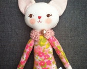 Tiny Handmade Dolls - pink cloth mod floral cat