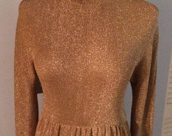 70s Long Sleeve Gold Polyester Ful Length Turtleneck Dress