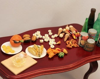 Miniature Dollhouse Food Lot Vintage Groceries Plated Lunches