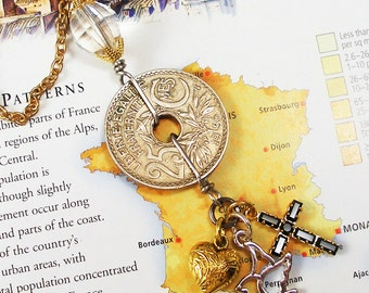 France, Vintage Coin Necklace - - Liberte, Eqalite, Fraternite - - French Riviera - World Travel - European Tour - Recycled - Rediscovered