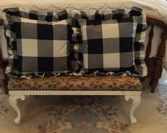 """P Kaufmann Buffalo Check Ruffled 18"""" Pillow Cover...many colors available"""