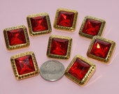 8 Red Rhinestone Buttons Jeweled Gold Faux Acrylic - Plastic Square Rhinestone (AE 5)