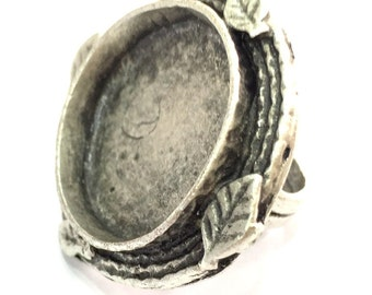Adjustable Ring Blank, (25mm blank ) Antique Silver Plated Brass G5311
