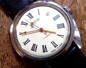 Vintage wrist watch Vostok mens watch men watch mens watch white watch, classic watch, mechanical watch