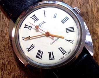 Vintage wrist watch Vostok mens watch men watch mens watch white watch, classic watch, mechanical watch