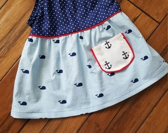 READY TO SHIP size 6-12 months,nautical dress,brownie goose,Nelle dress,whales summer dress
