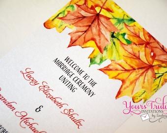 Fall Leaves Tea length Wedding or Reception Program