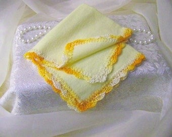 Soft Handkerchief, Hanky, Flankie, Flanky, Hand Crochet, Yellow, Pastel, Kids, Children's, Cold and Flu, Scalloped, Ready to ship