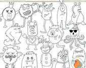 SALE - Monster Line Art, Silly Monster Doodles, Children ClipArt, Hand Embroidery Patterns, PNG Graphics + Photoshop Brush, Digital Stamps