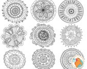 Zen Hand-Drawn Medallion ClipArt, Circle Mandala Line Art Illustrations, Circle Ornament Decoration, Bohemian Doodle Clip Art Silhouette