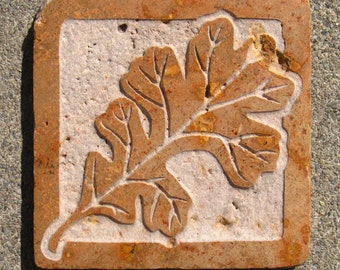 4x4 Oak Leaf Tile - Etched Tumbled and Polished Travertine Stone Tile - SRA