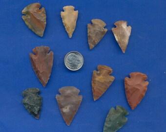 10 Knapped Stone Arrowheads Lot-300
