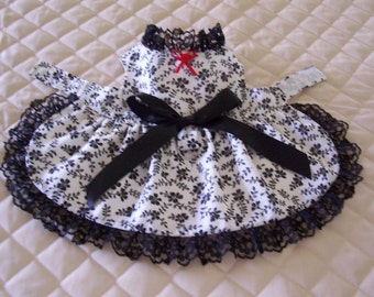 Lovely XS-S White and Black Dog Dress Lace Bow Pets Clothes Handmade