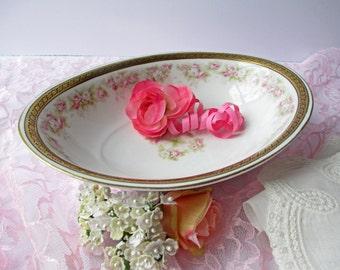 Antique Ohme Silesia Pink Green Rose Serving Bowl - Bridal Weddings