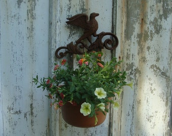"""Wall Mounted Plant Holder - Cast Iron Bird Scroll - with 10"""" Steel Pot Ring"""