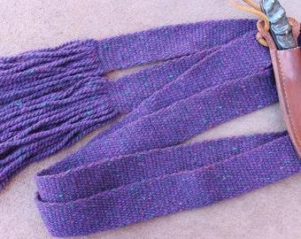 Wool Sash, Handwoven, Purple