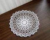 Geometric Table Decor Crochet Doily, White Lace, Modern, New Minimalist Fiber Art