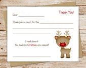 christmas thank you cards for kids . fill in the blank . rudolph-inspired, red-nosed reindeer . set of 10