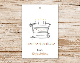 birthday gift tags - birthday cake tags - happy birthday hang tags - set of 8 - blank or personalized tags