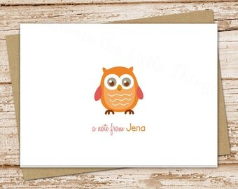 owl note cards notecards set . folded personalized stationery stationary . blank cards . owl choices . set of 8