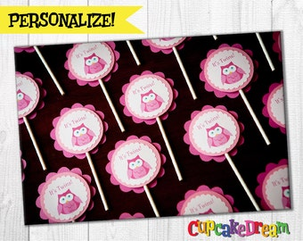 Owl Baby Shower, Cupcake Toppers, Set of 12