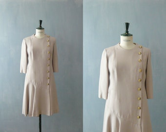 Vintage drop waist dress. 60s dress. Blush dress