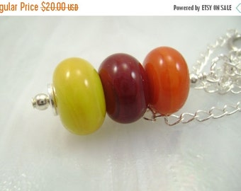 Moving Sale Beaded Pendant Stacked Yellow Orange Red Lampwork Glass Necklace Happy Day 2