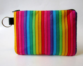 Handmade small pouch with zipper - split key ring - Rainbow - stripes bright colors - coin purse - makeup bag - credit cards - ready to ship