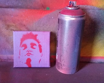 Small tiny Morrissey Moz art painting  original stencil and spray paint art by Rainbow Alternative The Smiths street art