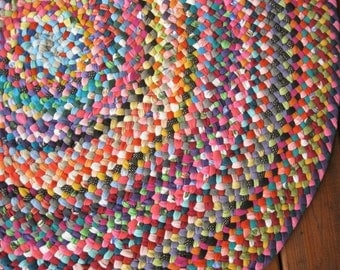 New Ready To Ship Colorful Cotton Handmade Recycled Rug / Rag Rug / Floor Carpet for Playroom / Nursery / Child's Room / Bathroom / Entry