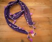 purple beaded scarf, hairband bandana