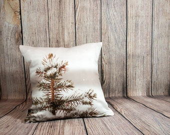 Rustic Winter Pillow Cover, Snowy Accent Throw Cushion, Handmade, Ski Resort Decor, Cozy Cabin, Frosted Branches, Gift for Outdoorsmen, Him
