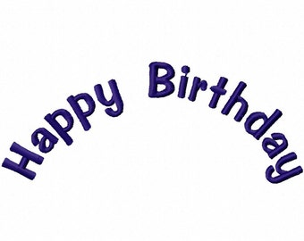 Happy Birthday Arch Embroidery Machine Applique Design 11008