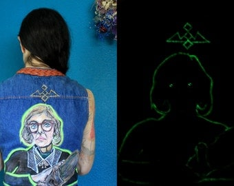 Log Lady / Hand-Painted vintage vest / Glows in the dark