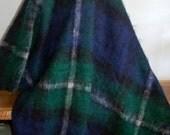 "Warm Fluffy St. Albans Holyrood Rich Green & Dark Blue Pure Mohair Pile Plaid Throw / Blanket ~ Made in Australia ~ VG ~ 77"" long w/ fringe"