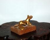 Vintage Alva Studios Gold Tone Pre-Columbian Frog Sculpture on Wood Base ~ Original Label ~ Excellent Condition