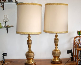 Two Monumental James Mont Style Asian / Chinoiserie Brass Table Lamps w/ Original Harps & Shade ~ Glamour, Mid Century Modern, Regency Decor