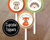 Spring Family, Forest Animal Baby Shower, Set of 12 Cupcake Toppers, Personalized, Baby Shower or Birthday