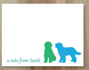 Doodle Dog, Goldendoodle, Labradoodle Personalized Stationary, Silhouette Blank Flat Note Cards, Set of 10, Professionally Printed