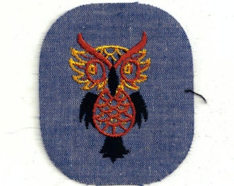 Yellow Brown Tan Perched Owl Vintage Retro Sewing Patch Applique Rare Collectible