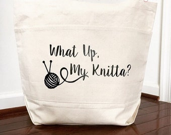 Large What Up My Knitta Yarn Carry Tote Bag