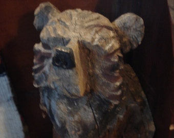 Antique Folk Art Carved Bear, Folk Carving, Bear Carving, Camp, Cabin, Cottage, Lodge, Adirondack Decor