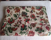 Vintage Linen Fabric Unused Floral Panel Antique Textile Jacobean Print 3 yards Country Cottage Decor Vintage Furnishings Supplies