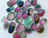 26 Pieces, 78 Cts, 16-9mm,Rare Natural Watermelon TOURMALINE Smooth Slices Briolettes,VERY Very Rare