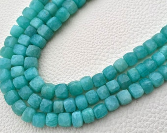 8 Inch Strand,Superb-Finest Quality AMAZONITE Faceted 3D Box Shape Briolettes, 7-8mm size,Great Item