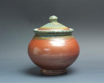 Handmade pottery sugar bowl storage jar tea caddy iron red 3497