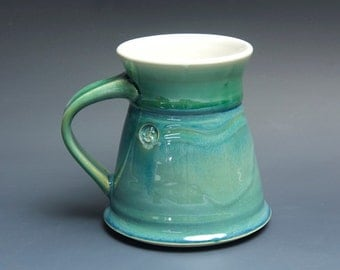 Sale - pottery coffee mug, ceramic mug, stoneware tea cup jade green 14 oz 3517
