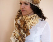 CLEARANCE SALE - 50% OFF- Crochet Scarf - Ruffle Lace Scarf -  Multicolored Ruffle Scarf -  Ready to Ship / Sale