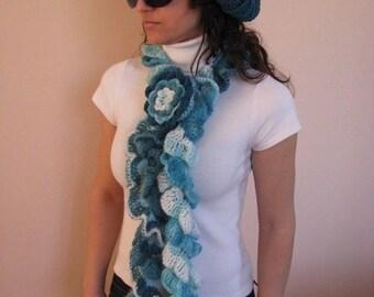 CLEARANCE SALE - 50% OFF- Crochet Ruffled Scarf / Crochet Scarfelette / Ready to Ship / Sale