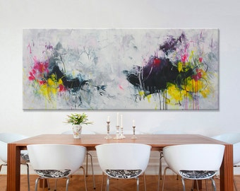 extra large abstract painting black white painting horizontal minimalist modern wall decor painting 'imaginary escape' 72x30